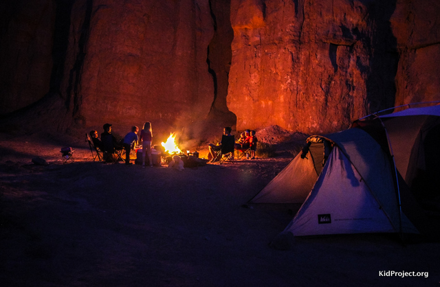Campfires on BLM land, southern Utah
