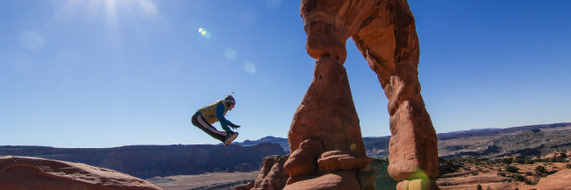 full res - Jumping for joy at Delicate Arch, Arches National Park