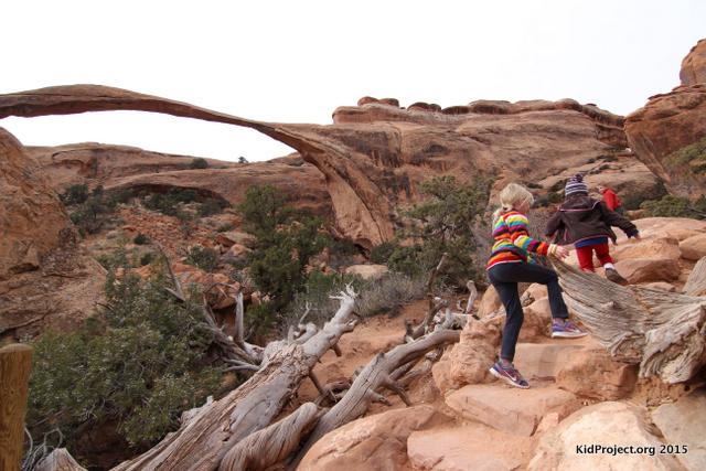 Hiking past Landscape Arch