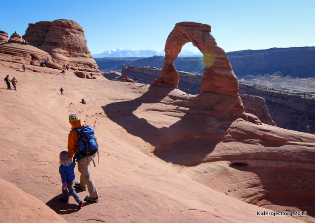 Arriving at Delicate Arch, hiking with kids
