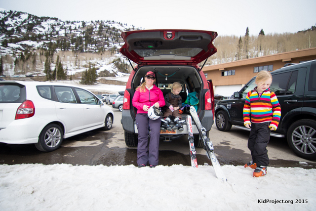 Tailgating on a ski day, family skiing