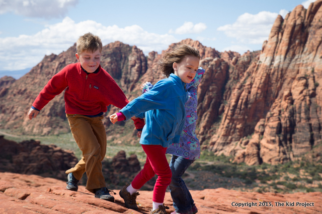 Playing on the rocks, hiking kid style!