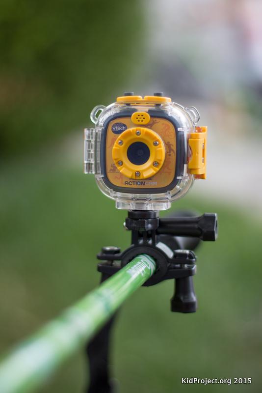 VTech action camera for kids, pole mount