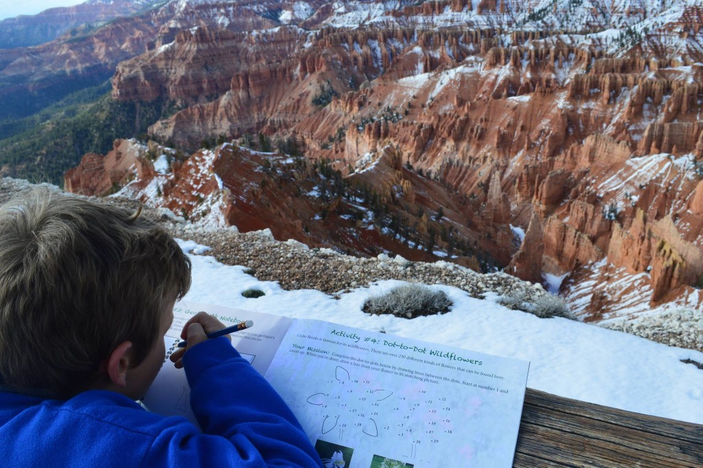 From Michelle: Summer road-trips combined with a love of learning make for incredible summer memories (Working on his Junior Ranger Badge at Cedar Breaks National Monument)