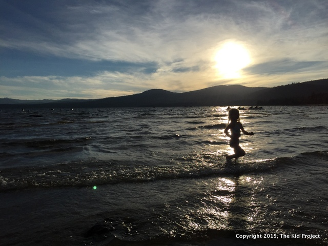 Running free at sunset in Lake Tahoe