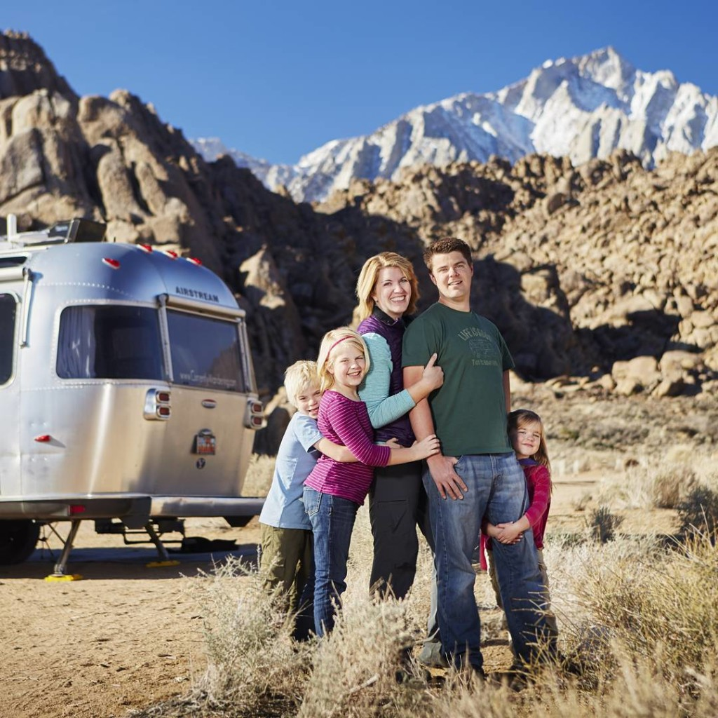 Follow @CurrentlyWandering on IG to keep up with their adventures! | Let's throwback to last winter when @sethkhughes captured us, our Airstream and Mt. Whitney in the Alabama Hills. Love this crazy family of mine!