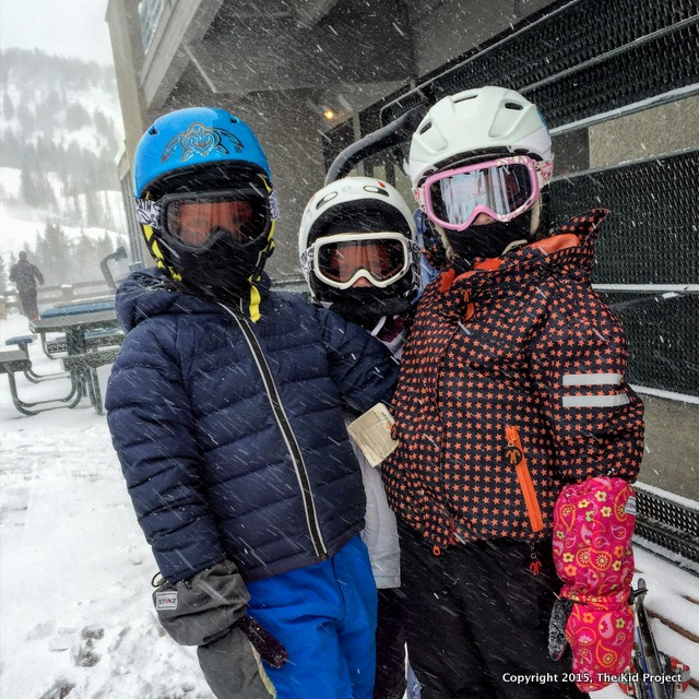 First day of skiing with kids