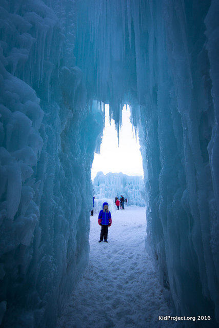 The kids loved chasing eachother around the ice passages at the Ice Castles.