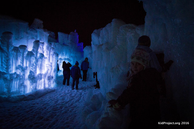 Night time exploring at the Ice Castles.