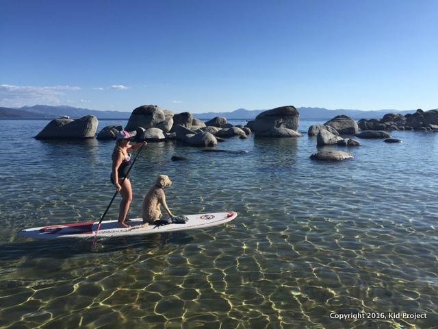 Paddling at speedboat beach, Lake Tahoe, CA