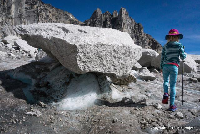 Exploring glacier debris or moraine in the Bugaboos