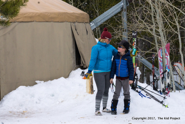 yurts, kids, winter, skiing