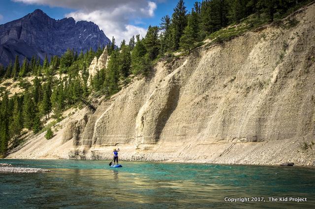 paddling Bow river, Banff