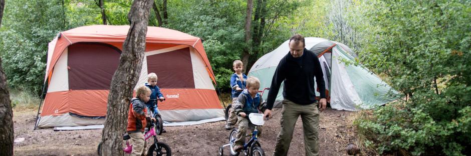 family camping, biking