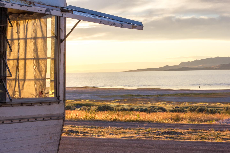 vinatage camper trailer on the beach