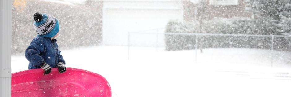 Sledding in snow storm