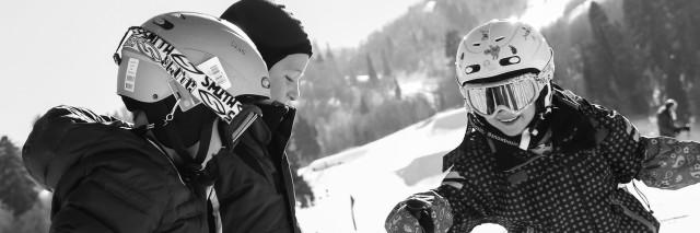 Kids skiing together at Snowbasin - full res