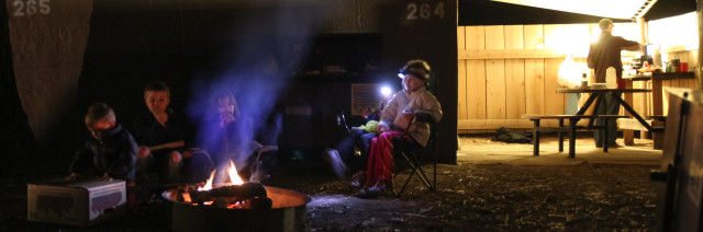family camping in Housekeeping Camp, Yosemite full res
