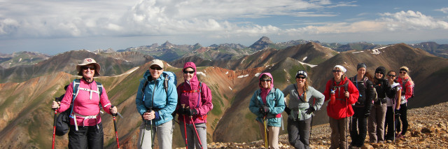 Women hiking up to Redcloud in Colorado