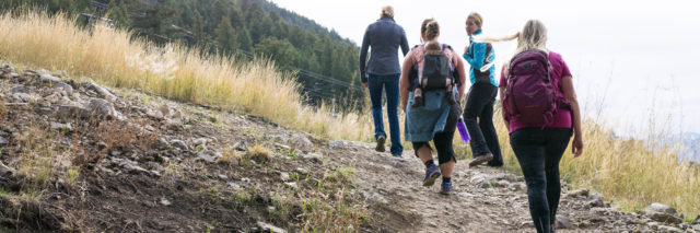 Women hiking; parenting goals; perseverance